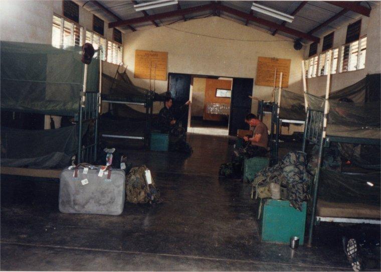 In the barracks.